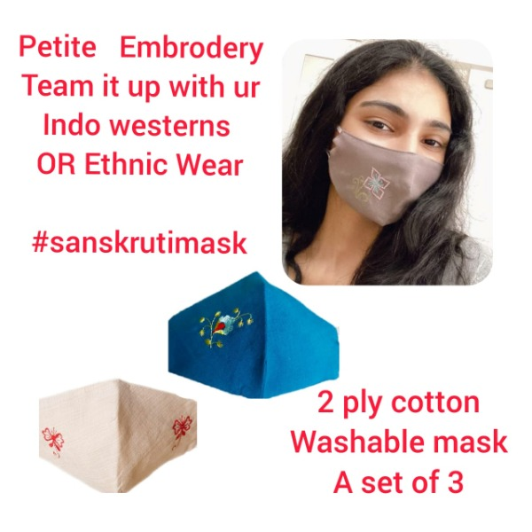 Embroidered Washable Reusable Cloth Face Mask [Assorted Colours] by Sanskruti