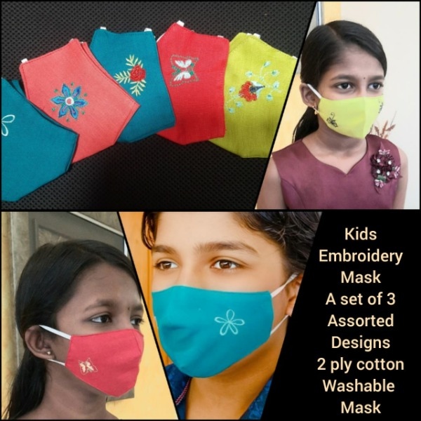 KIDS - Washable Reusable Cloth Face Mask [Assorted Colours] by Sanskruti