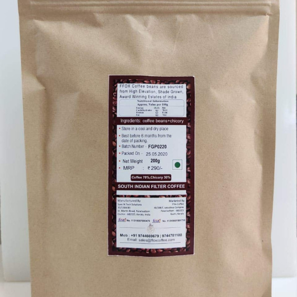 FFOX Coffee - South Indian Pure Aromatic Filter Coffee Powder with Chicory 70:30, 200gm Pouch