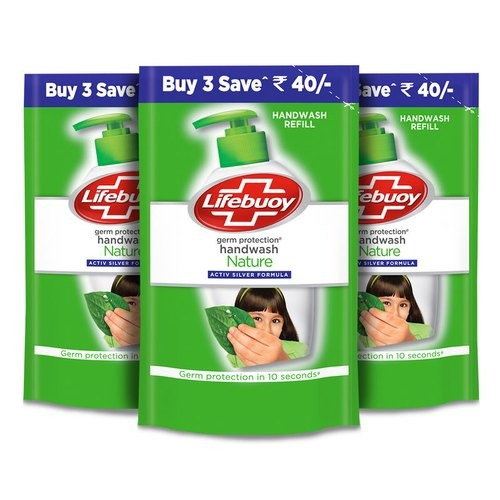 Lifebuoy Nature Germ Protection Handwash Refill - 185 Ml (Pack Of 3)