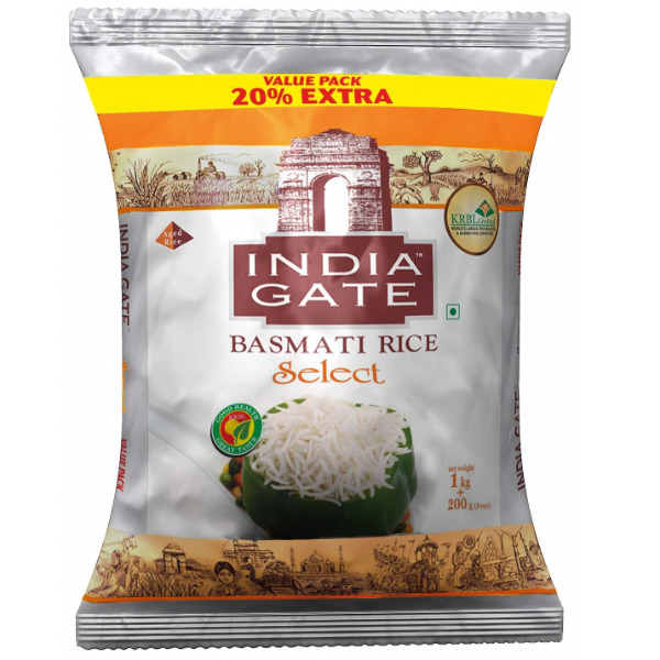 India Gate SELECT Basmati Rice, 1kg with Free 200g