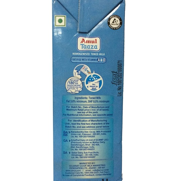 Amul Taaza Homogenised Toned Milk, 1L Tetra Pack