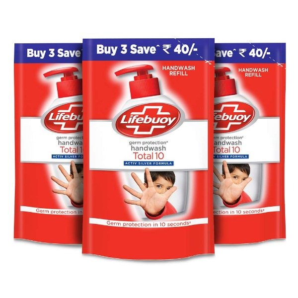 Lifebuoy Germ Protection Handwash Active silver formula  Refill - 185 Ml (Buy 3 save Rs 40)