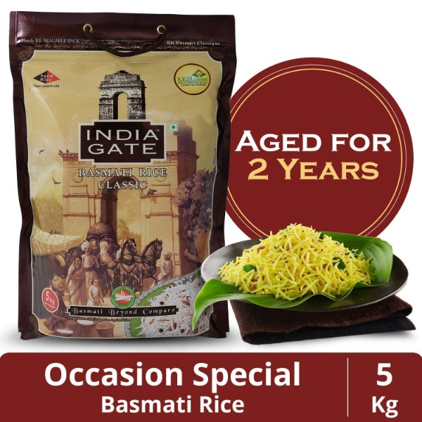 India Gate CLASSIC Premium 2 Years Aged Basmati Rice  Rice with Extra Long Grains & Rich Aroma