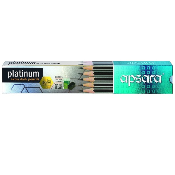 Apsara Platinum Extra Dark Pencils pack of 10 ( Includes Sharpner and Eraser )