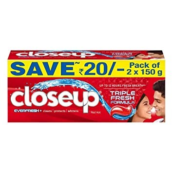 Closeup Ever Fresh Red Hot Gel Tooth Paste Pack of 2 × 150 (SAVE  RS. 20 )
