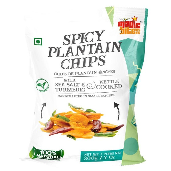 Magic Bites Indian Snacks Banana Chips 100% Natural Handcrafted Kettle Cooked - SPICY