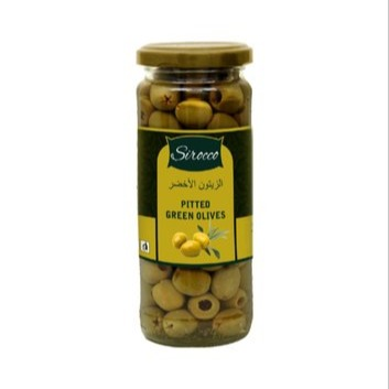 SIROCCO GREEN PITTED OLIVES , 440 gm