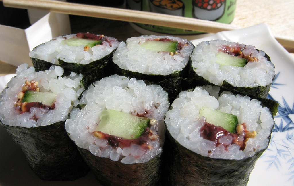 Traditional Japanese Sushi Rolls - Pickled Plum and Cucumber Roll Umekyu