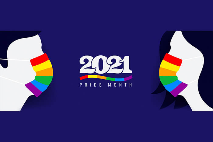 Silhouette of man and woman with protective face mask colored in rainbow. Pride and COVID-19 protection concept. LGBT flag color and logo 2021 pride month.