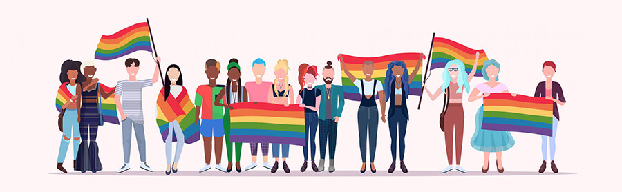 Silhouette of man and woman with protective face mask colored in rainbow. Pride and COVID-19 protection concept. LGBT flag color and logo 2021 pride month. Flat banner, card, web, vector illustration.
