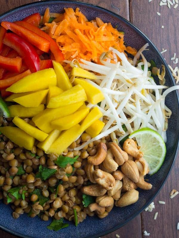 overhead view of tropical lentil bowl without dressing