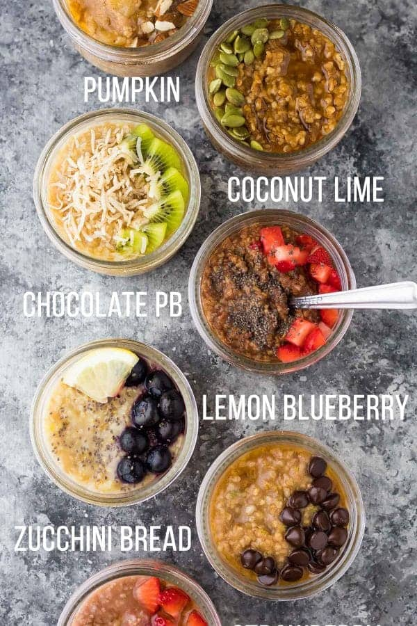 overhead shot of seven different steel cut oats recipes with text labeling each flavor