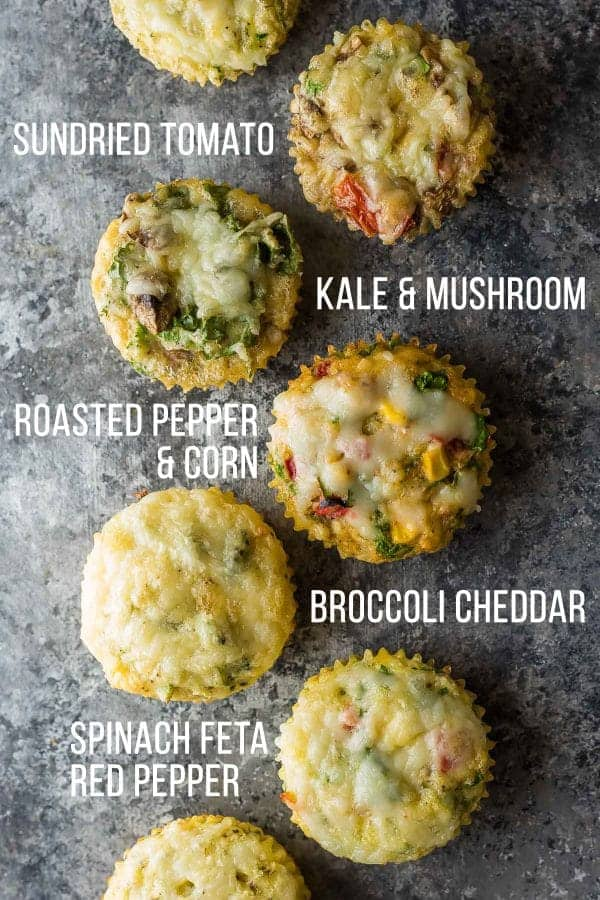 overhead shot of 7 healthy egg muffin recipes with labels