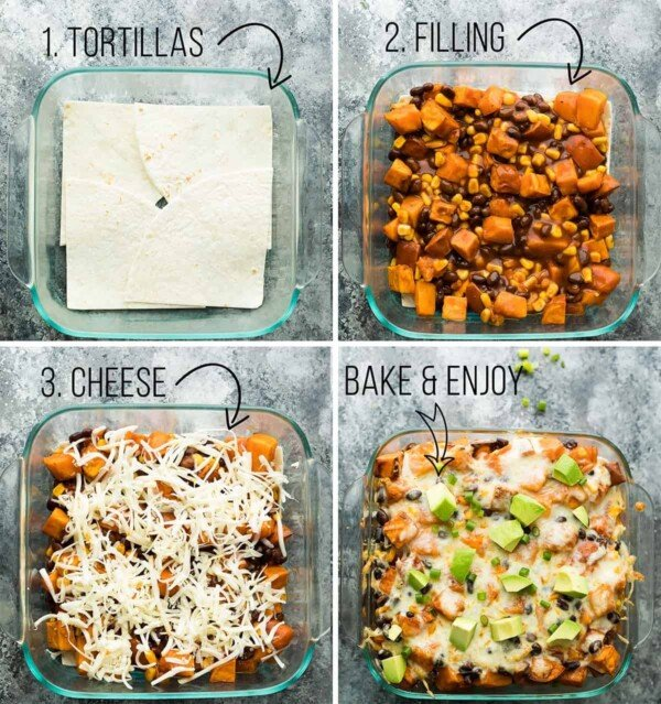 collage image with four pictures showing steps to make butternut squash enchilada casserole