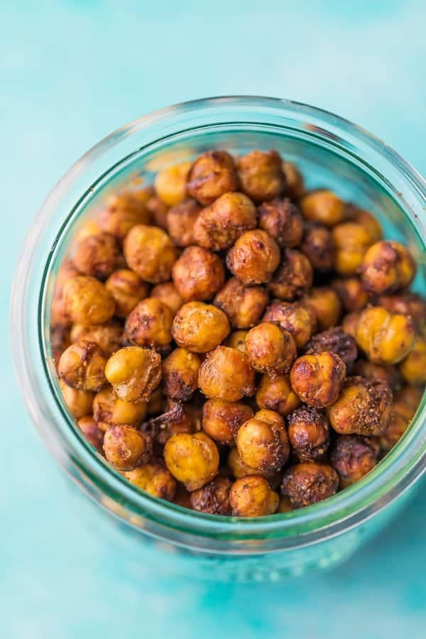 overhead shot of blue mason jar filled with crispy chickpeas