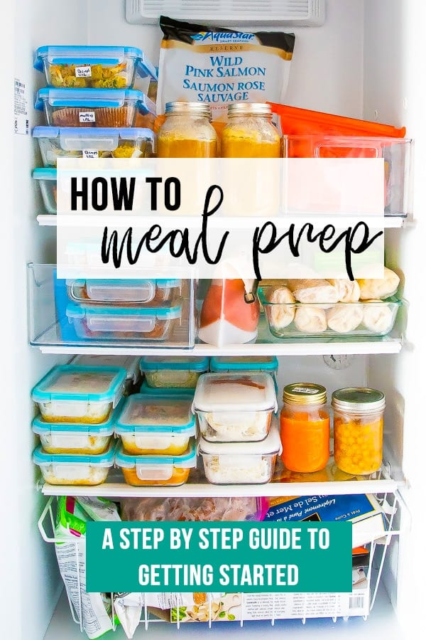 image showing a freezer with text how to meal prep