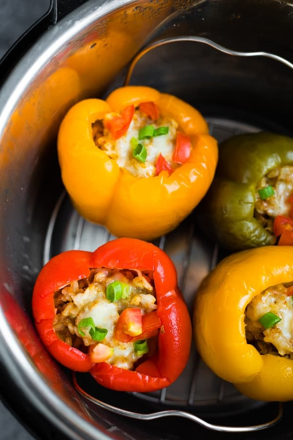 Overhead view of Instant Pot Ground Turkey Stuffed Peppers