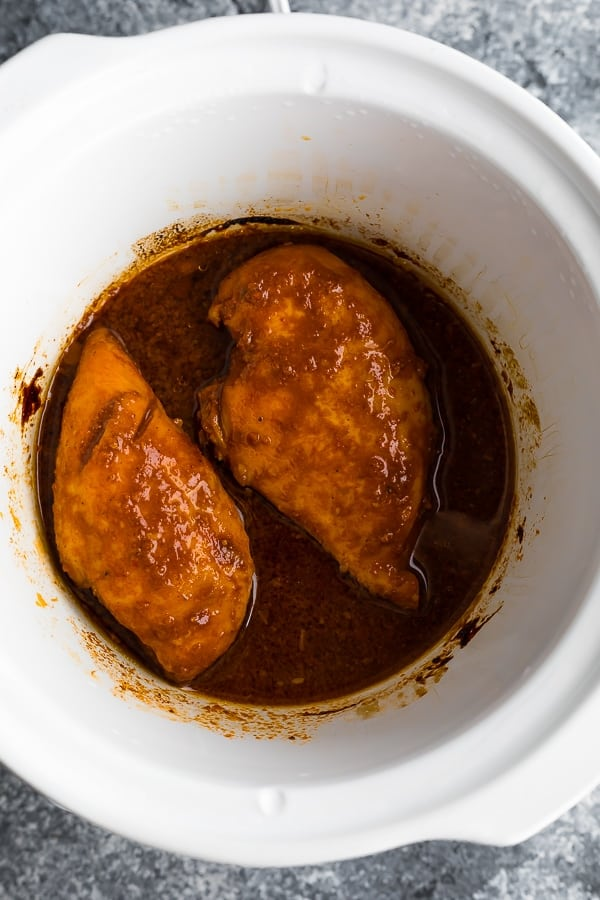 slow cooker bbq chicken in the slow cooker before cooking