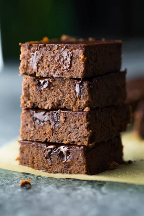 stack of four fudgy black bean brownies