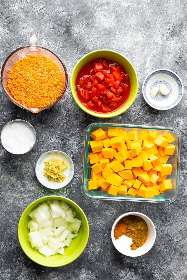 overhead view of ingredients required for this red lentil curry