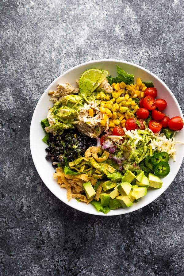 overhead view of crockpot beer chicken taco salad