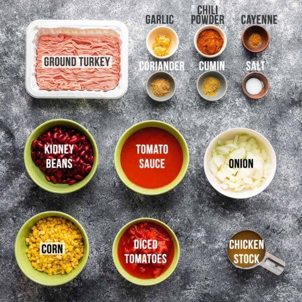 overhead view of ingredients required for turkey chili