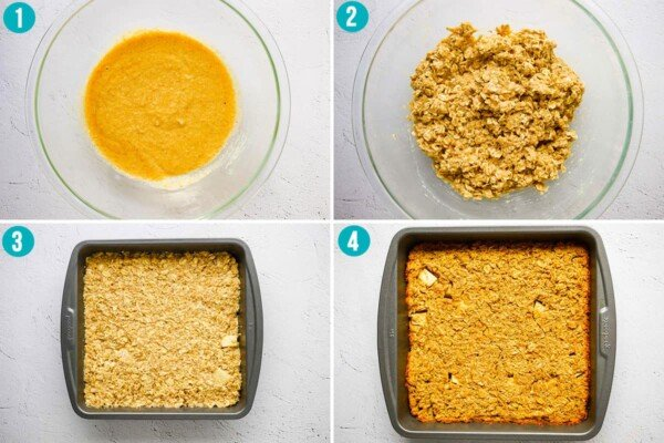 collage image showing how to make apple quinoa breakfast bars