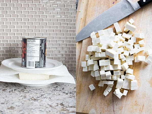 collage image showing how to press and cube tofu