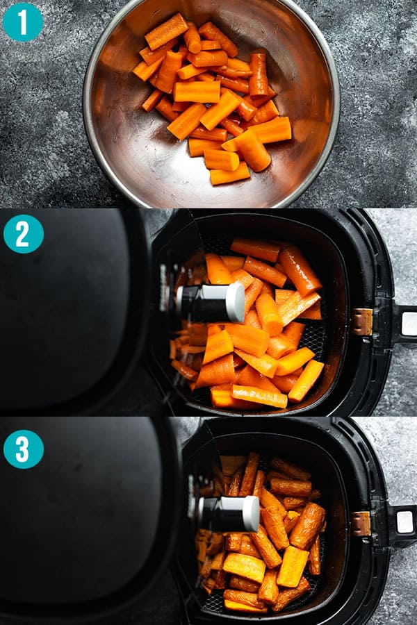 collage image showing how to cook carrots in an air fryer