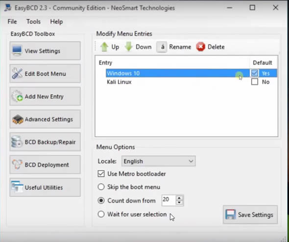 Adding Kali Linux to Windows Boot Manager using EasyBCD