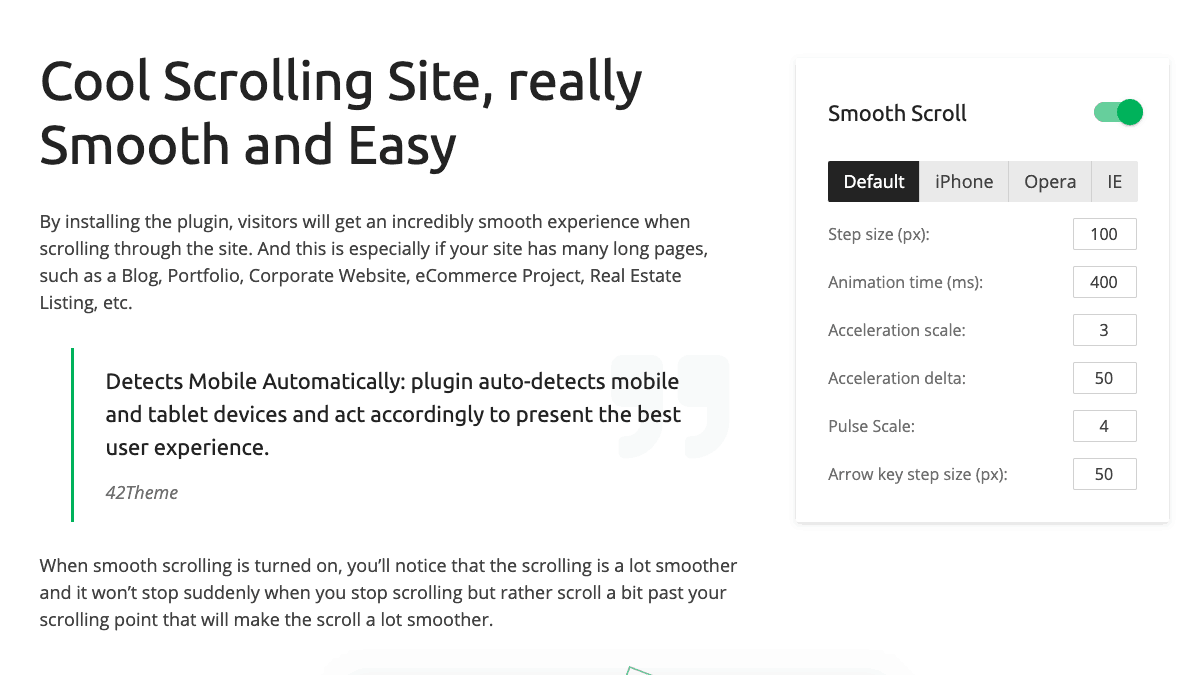 【WordPress 付費外掛免費下載】Smooth Scroll for WordPress — Site Scrolling without Jerky and Clunky Effects.