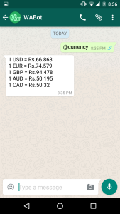 Currency whatsapp bot