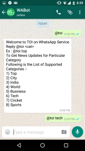 WhatsApp Bot news