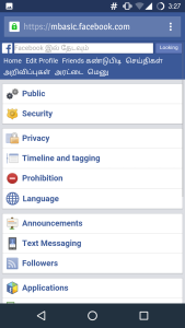 Single Name On Facebook Using Mobile Phone click on language