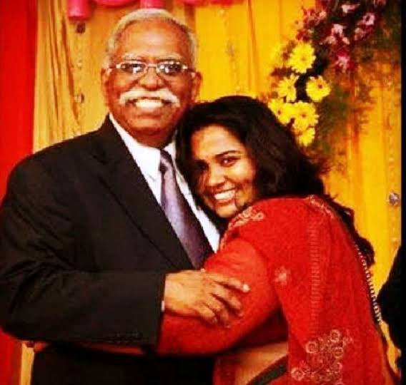 Sumukhi Suresh with her father.