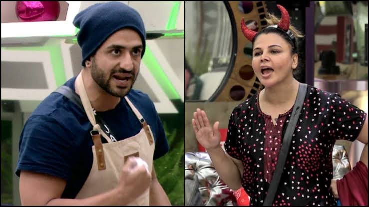 Rakhi Sawant and Aly Goni in Bigg Boss 14