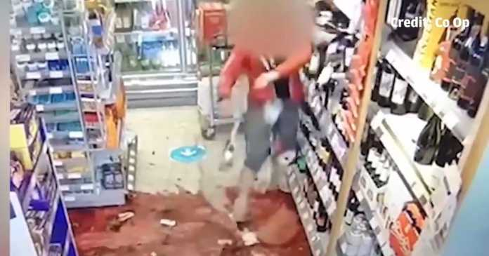 Shocking CCTV shows angry shopper in wine bottle smashing frenzy