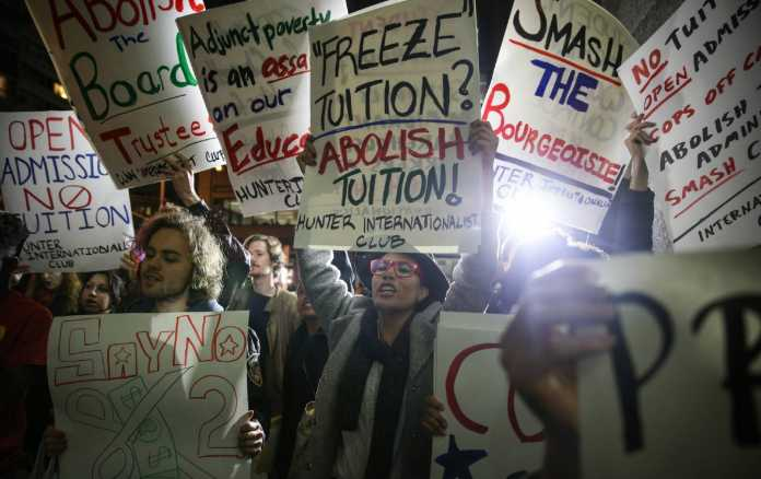 students protest abolish tuition