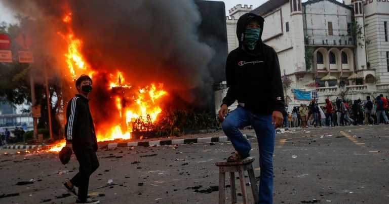 'Struggle for our children': Clashes erupt during protests against new Indonesia jobs law