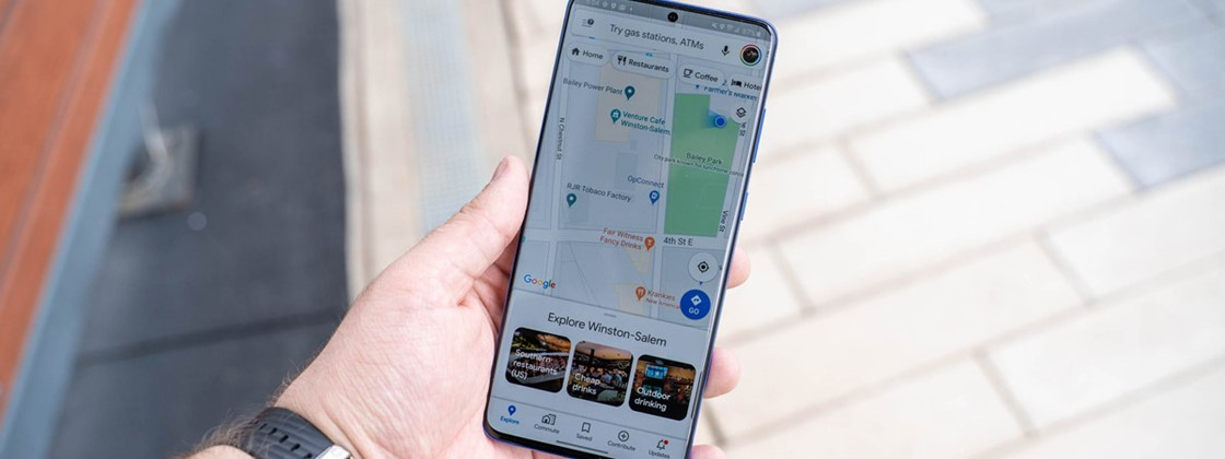 Google Maps displays clustered locations in time