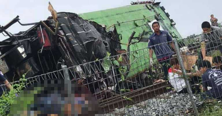 At least 17 killed and dozens injured after train smashes into bus in Thailand