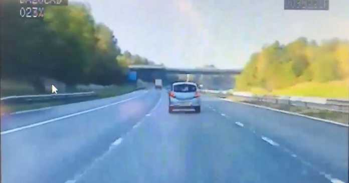 Car caught middle lane hogging - and vehicle crushed by police