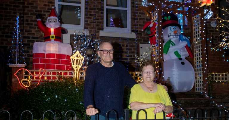 Couple put Christmas lights up on October 1 to cheer up entire street
