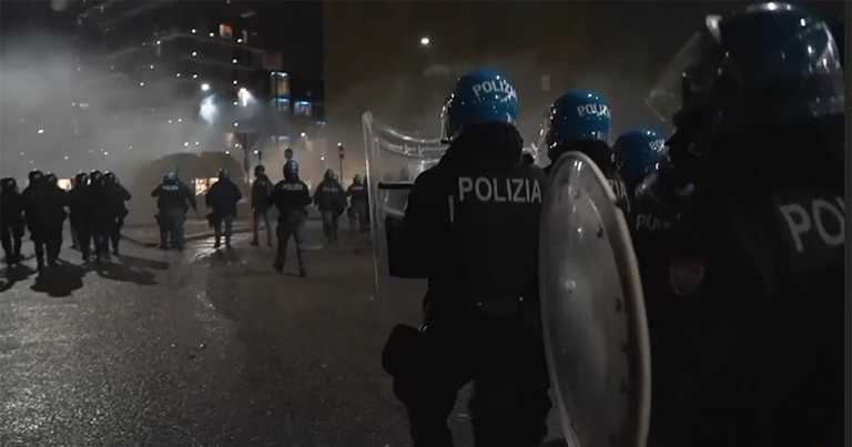 Italian police clash with demonstrators protesting country's new Covid-19 restrictions