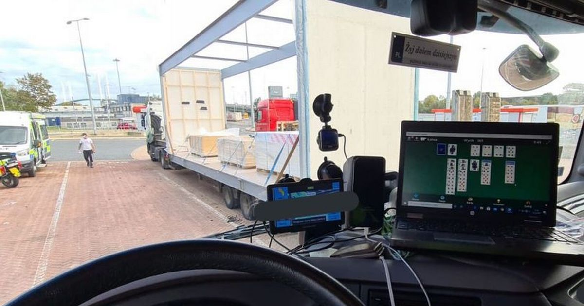 Lorry driver stopped by police after being spotted playing solitaire at wheel