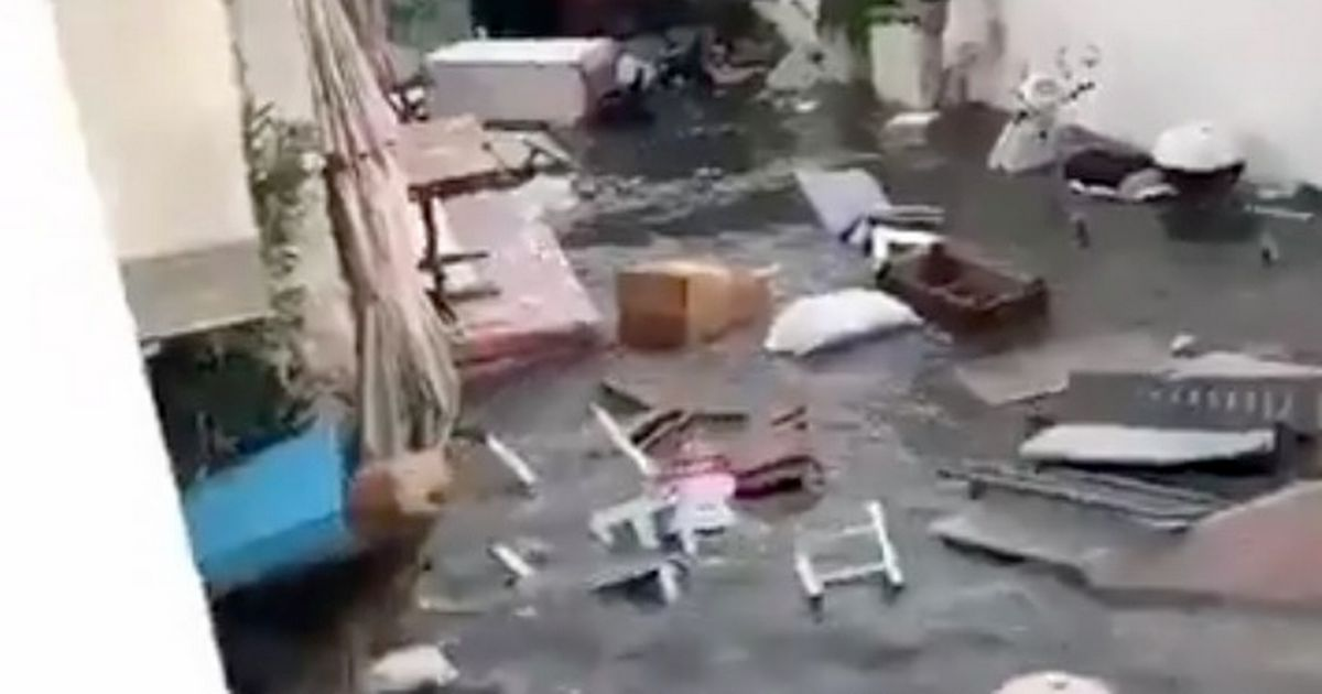 Mini-tsunami sends furniture flying down streets after Greece-Turkey earthquake
