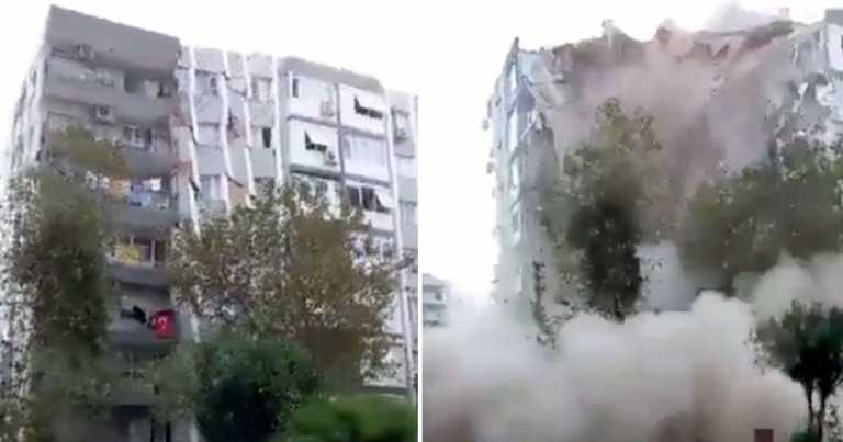 Moment tower block crumbles to ground after deadly 7.0m earthquake in Europe