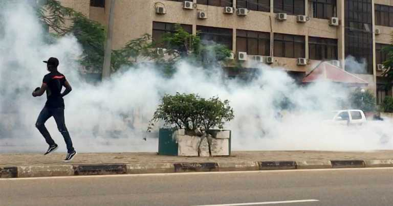 Nigerian police accused of firing teargas at protest against brutality