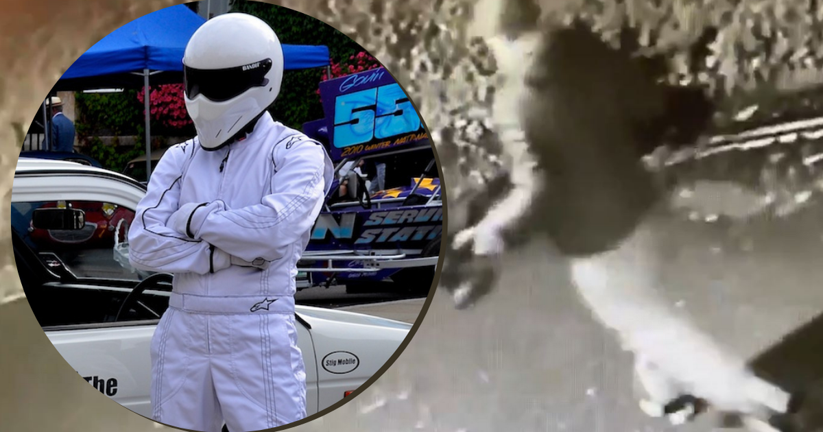 The Stig fuming after someone steals his new skateboard